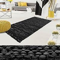 Tapis cuir casa pura® moderne et original   90% cuir véritable recyclé et résistant   tissé main   4 coloris et 4 tailles   Windsor, noir - 70x140cm