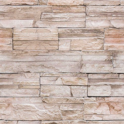 murando - Vlies Tapete - Deko Panel Fototapete - Wandtapete - Wand Deko - 10 m Tapetenrolle - Mustertapete - Wandtapete - modern design - Dekoration - Steine Steinwand Steinoptik Wand f-A-0173-j-b