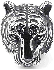AnaZoz Plata Negro Punk Gothic Tigre Acero Inoxidable Joyería de Moda Personalidad Simple Anillos de Hombre
