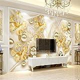 YShasaG Seidenwandbild Benutzerdefinierte Wandbild Tapete für Wände 3D Diamant Schmuck Blume 3D Wandmalerei Kunst Wohnzimmer Sofa TV Hintergrund Foto Wandpapier, 352 cm * 250 cm