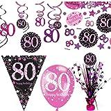 PartyVision Décoration kit anniversaire noir et rose 80 ans prestige ballons guirlandes