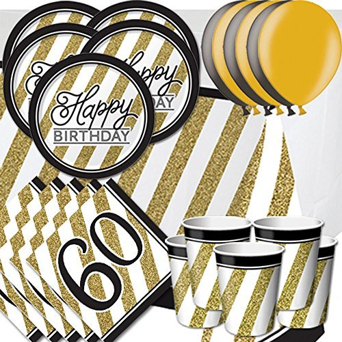 Black & Gold 60th Birthday Party Pack for 16 - Plates, Cups, Napkins, Balloons and Tablecovers by Signature Balloons