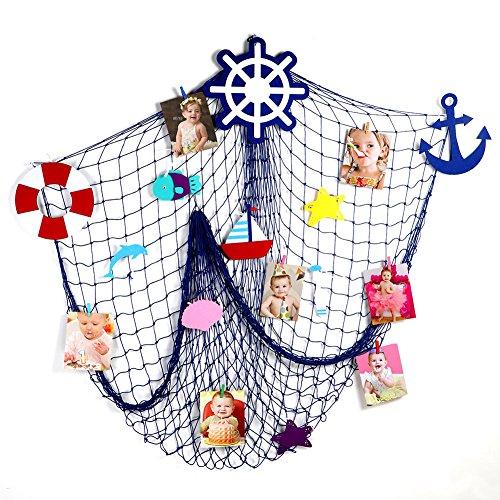 Aytai DIY Fischernetz mit 10 Filz Ornaments Nautical Style Wand Decor für Hochzeit Baby Dusche Geburtstag Dekorationen, Nautical Style