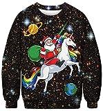 Ocean Plus Homme Sweat-Shirts Pull Imprimé Numérique Ras du Cou Thème d'halloween Sweatshirt de Noël Pull Unisexe à Manches Longues (M (Poitrine: 108cm), Père Noël avec Une Licorne Arc-en-Ciel)