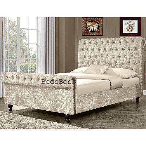 Neue Attraktive Crushed Luxuriöse Samt Qualität gepolsterten Chesterfield Deluxe Schlitten Bett Rahmen 6ft (Super King Size, cremefarben Samt) von bedsboss