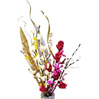 Fab n Style Artificial Handmade Dry Pine Flower With Moti Sticks And Palm Leaf (Multicolour)
