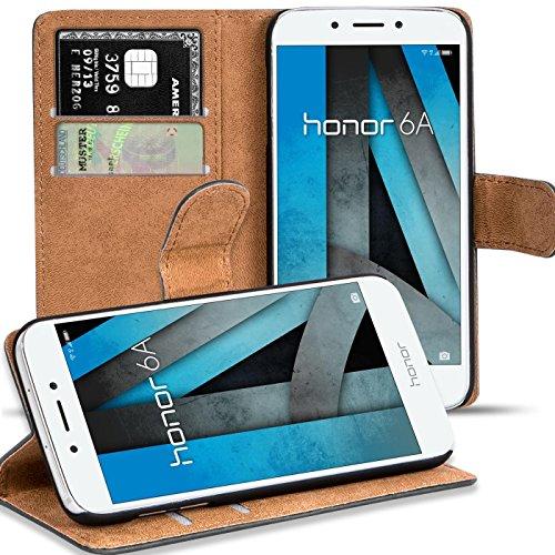 Honor 6A Hülle, Verco Handyhülle für Huawei Honor 6A Tasche PU Leder Flip Case Brieftasche - Schwarz
