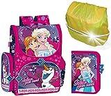 Disney Eiskönigin Frozen Schulranzen Mädchen 1 Klasse | Tornister Schulrucksack Schultasche | SET 4 teilig | für Grundschule | super leicht | inkl. Federmäppchen, Regenschutz und Sticker von SCOOLSTAR