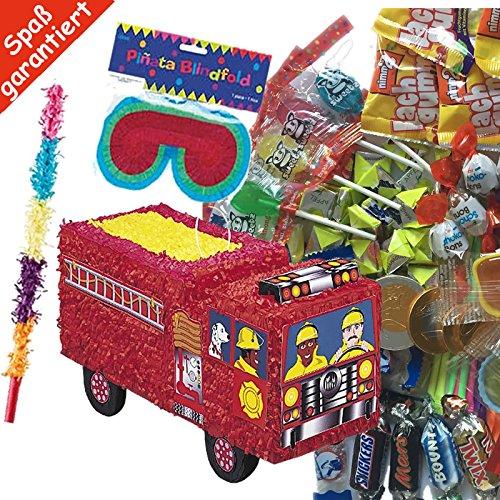 Pinata Set: * FEUERWEHR * mit + Maske + Schläger + 100-teiliger Süßigkeiten-Füllung No.1 von Carpeta© // Handgefertigte spanische Pinata. Tolles Spiel für Kindergeburtstag oder Mottoparty (Feuerwehr-maske Für Kinder)