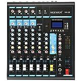 Neewer Mixer Console Stereo Compatto 8 Canali Effetti DSP con Porta USB 3 Bande Indicatore LED per Computer Microfoni & Altri Strumenti Musicali (NW-08)