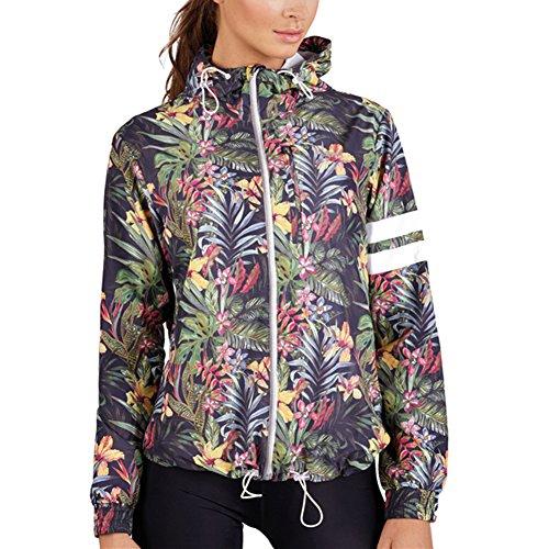 Damen Sportjacke con Kapuze Blume Jacke Zip Windjacke Multifunktions Frauen Sweatshirt Jacken Meedot (Pant Winter Suits Damen)