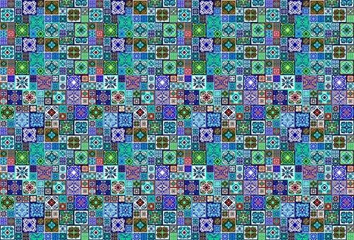 Printodecor - Alfombra Vinílica Impresa, Multicolor (Geométrico Cuadros), 143 x 97 cm