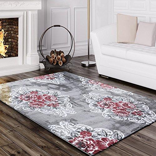 Teppich Blumen (Designer Teppich Edel Mit Vintage Blumen Muster Meliert In Grau Creme Rosa, Grösse:80x150 cm)