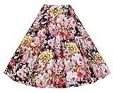 EUDOLAH Damen Kleid kurz Roeck Rockabilly Faltenrock Knielang Stoffdreuck Vintage Sommerrock H1104 Blumen Gr.M