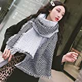 XWH Damen Schals, Herbst Und Winter Einfarbig Kleiner Duft Schwarz-Weiß Polka Dot Schal, Damen Temperament Wild Warmen Schal,Weiß,200 * 70 cm