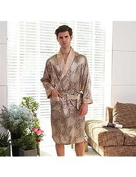SUxian Gran Albornoz Estampado de poliéster de los Hombres Albornoz de Manga Larga Albornoz Pijama