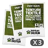 Set di 3sacchetti di tintura-Verde Oliva-Coloranti universali per vestiti e tessuti naturali