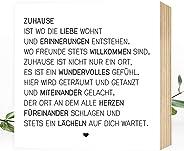 Wunderpixel? Holzbild Zuhause - 15x15x2cm zum Hinstellen/Aufh?ngen, echter Fotodruck mit Spruch auf Holz - schwarz-wei?es Wan