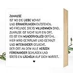 Wunderpixel® Holzbild Zuhause - 15x15x2cm zum Hinstellen/Aufhängen, echter Fotodruck mit Spruch auf Holz - schwarz-weißes...