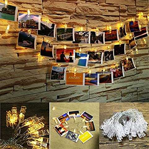 FFNW Battery Photo Clip String Lights 16.4 Feet 40leds LED Photo Clips String Lights for Decor Artwork, Wall Hanging Pictures, Photos, Bedroom, Party (Warm White)