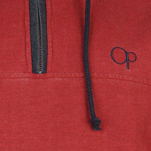 Ocean Pacific Uomo Pique Pullover Felpa con Cappuccio Manica Lunga Casual Top Rosso