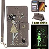 Samsung Galaxy A5 2017 Case, Samsung Galaxy A5 2017 Case [Gray],Samsung Galaxy A5 2017 Luminous Case, Cozy Hut [Night Luminous] [Wallet Case] Magnetic Flip Book Style Cover Case ,Glow in the Dark Creative Design Cat and woman Pattern Design Premium PU Leather Folding Wallet Case With [Lanyard Strap] and [Credit Card Slots] Stand Function Folio Protective Holder Perfect Fit For Samsung Galaxy A5 2017 - gray