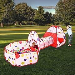 Idea Regalo - MAIKEHIGH Indoor / Outdoor Tunnel gioco e Play Tent Cubby-Tube-tenda canadese 3 in 1 parco giochi per bambini capretti del bambino Giocattoli SFERE NON INCLUSA