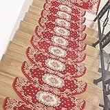 ANHPI Treppenmatten Selbstklebend Faser Halbkreis Langlebig Rutschfester Treppen-Teppich Schutzkissen Europäischer Stil Mehrfache Farben Und Größe 15 Stück-Satz,D-24 * 64cm