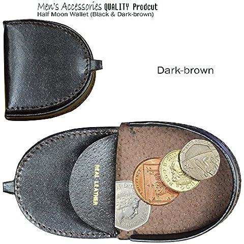 Auténtica piel tipo cartera para monedas Monedero en forma de D en forma de media luna marrón