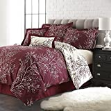 Spirit Linen Hotel 5th Ave Foliage Collection Plush Reversible Comforter Set, Burgundy/Ivory, Queen, Set of 6