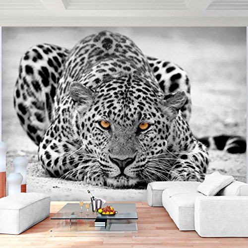 lies Wand Tapete Wohnzimmer Schlafzimmer Büro Flur Dekoration Wandbilder XXL Moderne Wanddeko - 100% MADE IN GERMANY -Afrika Schwarz Weiß - Runa Tapeten 9034010b (Leopard Dekorationen)