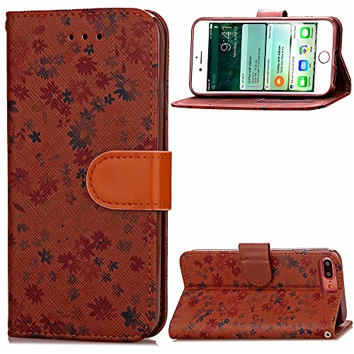 Wkae Case Cover Étui en cuir Wallet mixte Couleur PU Avec Cash Card slot petites fleurs Motif Case Cover Support Soft Case TPU pour Apple IPhone 7 Plus ( Color : Green , Size : IPhone 7 Plus ) Brown
