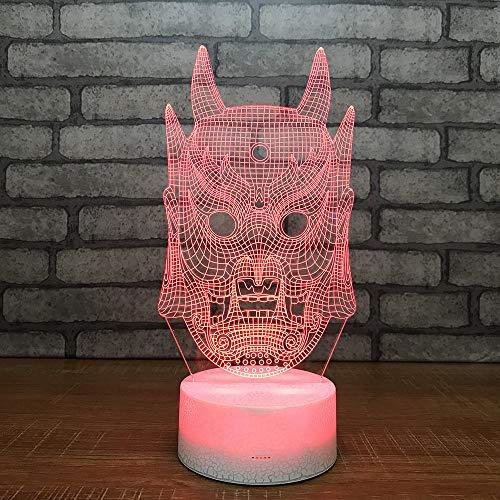 3D Optische Täuschung Nachtlicht Maske 7 Farben Erstaunliche Optische Täuschung Die Schlafzimmer-Dekoration Für Kinder Weihnachten Halloween-Geburtstagsgeschenk Beleuchten (Designs Weiße Halloween-die Maske)