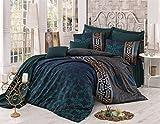 Set di biancheria da letto Queen retro Queen 3pezzi Biancheria di cotone verde oro indiano raso copripiumino egiziano orientale Sultan vintage etnico africano medio Oriente