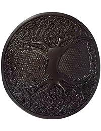 KILT BELT BUCKLE CELTIC TREE OF LIFE CIRCULAR BLACK FINISH//SCOTTISH BELT BUCKLES
