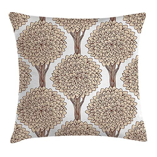 Yinorz Nature Throw Pillow Cushion Cover, Tree Pattern Continuous Symmetric with Full of Leaves Earthen Toned Graphic, Decorative Square Accent Pillow Case, 18 X 18 inches, Sand Brown Cinnamon
