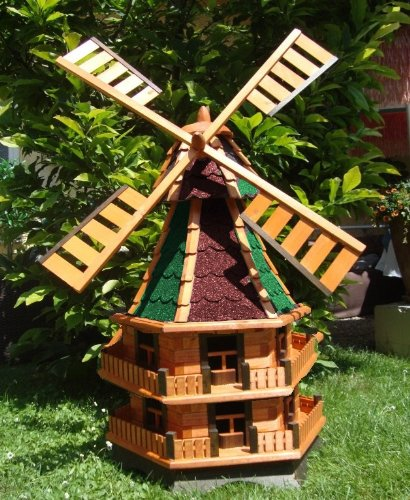 WMB140OS two-storey Windmill 1.40m Levels with/without Solar Lights Made from Bitumen/Solid Wood for Gardens and terraces Stone Large Windmill Wind Turbine Windmills Solar Light Solar Lighting Solar Lights Bulb Lights in many colours