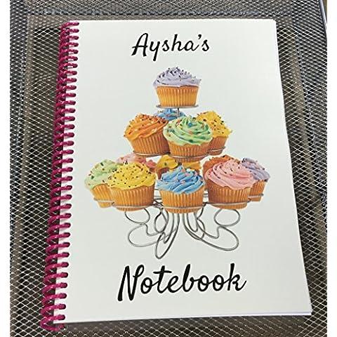 Un regalo personalizzato, Cupcake, formato A5, qualsiasi nome o osservazione stampato sulla parte anteriore