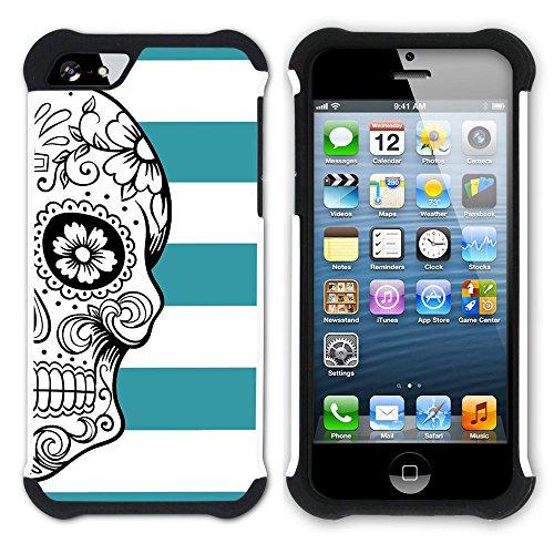 Graphic4You Mexikanische Zuckerschädel Tod Linien Muster (Wasserblau) Hart + Weiche Kratzfeste Hülle Case Schale Tasche Schutzhülle für Apple iPhone SE / 5 / 5S Türkis