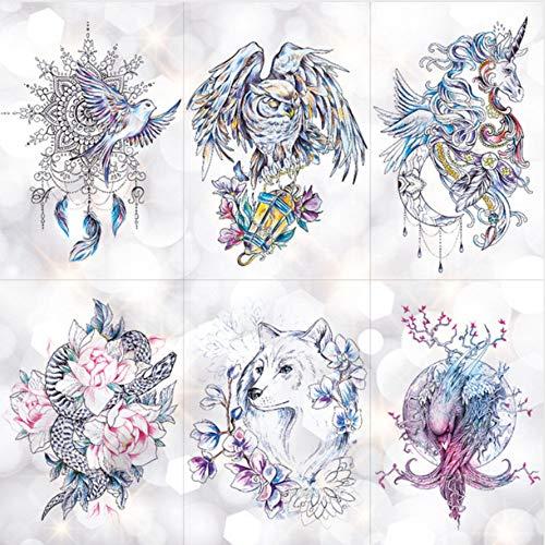 Dreamcatcher Mond Lotus Temporäre Tätowierung Aufkleber Pfingstrose Schlange Eule Fox Flash Tattoo Kleine Körperkunst Wasserdichte Tätowierung