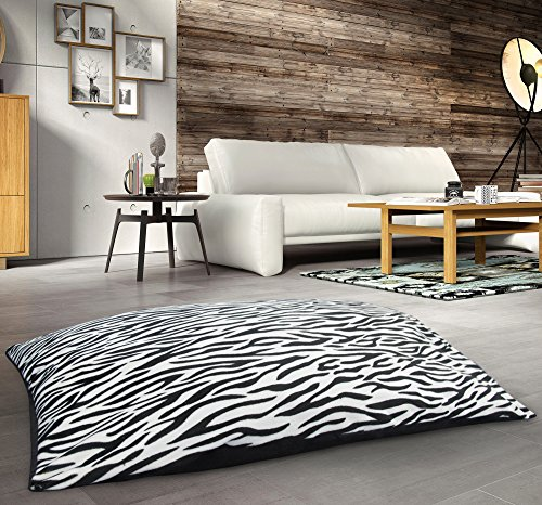 Large Zebra Print Reversible Pet Dog Cat Pet Bed With Removable Zebra Print Cover 95cms x 65cms