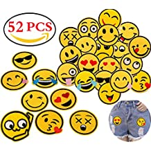 Liuer Patch Sticker 52PCS Ropa Termoadhesivos Lentejuelas bordados cosidos insignia de parche bordado decoración Cute DIY
