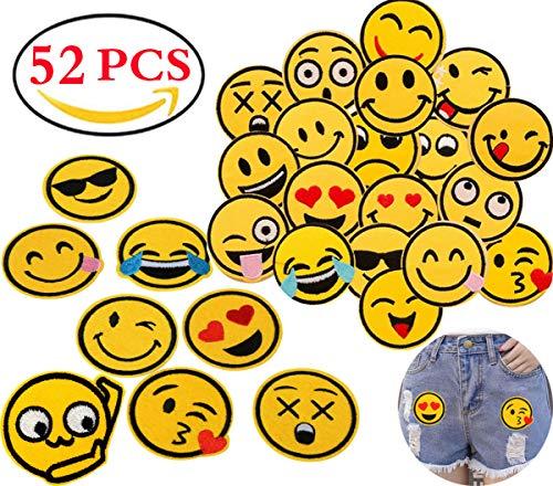 Liuer 52PCS Patches zum Aufbügeln Aufnäher Sticker Applikationen Nähen Oder Aufbügeln Niedlich DIY Kleidung Aufkleber für T-Shirt Jeans Kleidung Taschen Rucksäcke Schuhe Hüte,20 Emoji-Expression