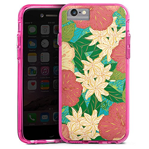Apple iPhone 8 Bumper Hülle Bumper Case Glitzer Hülle Spring Flowers Blumen Bumper Case transparent pink