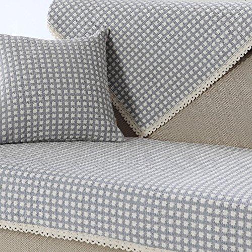 Sofa deckt schnitt,Baumwoll-stoff einfach modernes sofa matte Vier jahreszeiten universal sofakissen Rückenbezug handtuch Möbel-protector für 1 2 3 4 kissen sofa-F 90x120cm(35x47inch) (Pet Protector Schnitt)