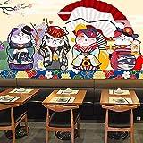 Carta da parati giapponese del ristorante 3d del gatto del fumetto del gatto del ristorante di sushi dello spuntino del gatto del vento fortunato del gatto di stile giapponese