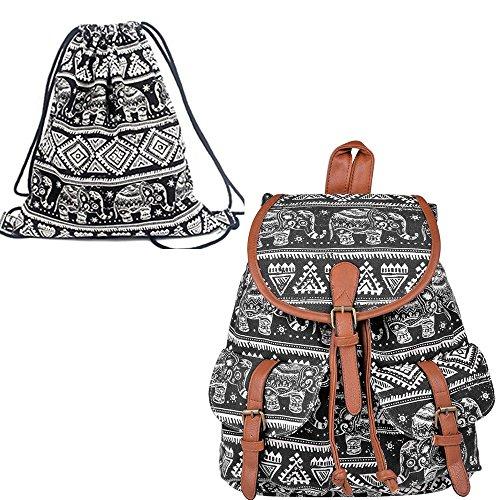 Leefrei casual Canvas Damen Herren Rucksack Daypack Backpacks Freizeitrucksack Schulrucksack Schultasche (Elefant Blau+Beutel) Elefant Schwarz+Beutel
