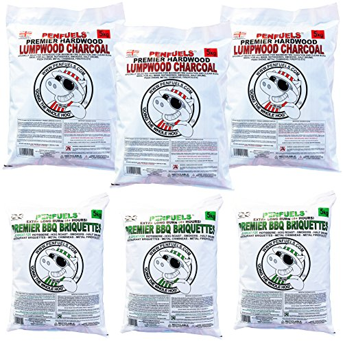 Three 5kg Premier BBQ Briquettes Plus Three 5kg Lumpwood Charcoal (6) 30kg total