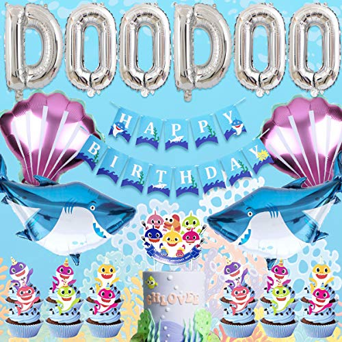JOYMEMO Baby niedlichen Shark Party Dekorationen mit DOO DOO Ballons Shark Happy Birthday Banner und Geburtstag Cake Topper, Baby Shower Supplies