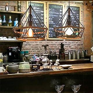 E27 Industrial Vintage Cage Pendant Light Modern Art Pyramid Diamond Birdcage Chandelier Rustic Retro Loft Pyramid Hemp Rope Lamp Style Cafe Dining Ceiling Lamp Diameter 25 cm (1 pz)